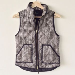 J. Crew Tan and Black Herringbone Pattern Vest